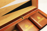 Backgammon pequeno da tampa do couro do frame do MDF