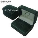 Caja de embalaje de la joyería de los anillos dobles con insignia de encargo