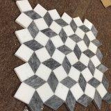 Azulejo blanco y gris de Thassos del cubo 3D del mármol de mosaico