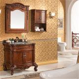 旧式なデザイン側面のキャビネットとの木の浴室の虚栄心