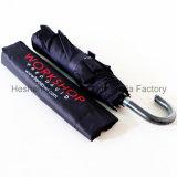 Guarda-chuva compato personalizado com o punho do gancho para anunciar (FU-3821BC)
