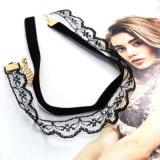 Trendy Hete Nieuwe Halsband van de Nauwsluitende halsketting van de dubbel-Laag van het Fluweel van het Kant van de Juwelen van de Manier Elegante