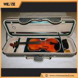 細長いバイオリンの箱が付いている専門の固体小ぎれいな炎にあてられたかえでのバイオリン