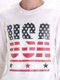 Long T-shirt d'hommes de chemise d'écran d'impression de coton fait sur commande blanc de mode