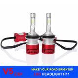 Os bulbos do farol do diodo emissor de luz do carro da iluminação 60W 8400lm V5 do diodo emissor de luz com diodo emissor de luz de Csp lascam H11 H4 H1 H3 H7 9005 farol do diodo emissor de luz de 9006 automóveis