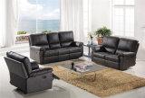 現代革ソファーは居間のための手動機能家具を使用されてセットする