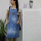 工場喫茶店および棒のためのカスタム最上質の青い洗浄デニム作業エプロン
