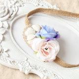 보헤미아 바닷가 쉘과 꽃 밀짚 레이스 머리띠