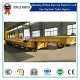 China 50 van de Lage Ton Aanhangwagen van het Bed Semi met 3 Hydraulische Assen van de Leiding