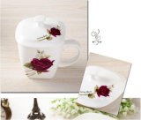 Coupe de thé en porcelaine avec impression de fleurs pour cadeaux