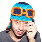 Chapéu feito malha de confeção de malhas Handmade piloto engraçado do inverno