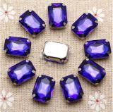 13*18mm das Kristallviereck nähen auf Rhinestone mit Greifer-Einstellungs-Silber-Rückseiten-Fantasie-Stein mit Metallgreifer (Schalter-Viereck 13*18/3A)