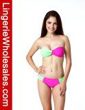 Luscious Dame-blockte zweiteilige Bikini-Farbe trägerlose Badebekleidung