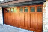 Portello di entrata esterno di legno solido con il comitato di vetro, portello del garage