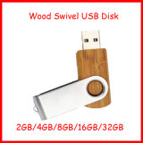USB de madera Pendrive del eslabón giratorio del metal de memoria Flash del mecanismo impulsor del flash del USB