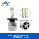36W 4000lm 6500k H4 S2 COB Car LED phare, LED tête lampe avec ventilateur