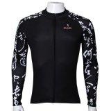 Il rivestimento di sport freddo modellato il nero di modo dello scritto corsivo supera il nero di riciclaggio asciutto rapido respirabile della Jersey del manicotto lungo degli uomini