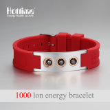 Bracelete de contas de hematites de design de moda com silicone de íon negativo (20010)