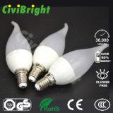 Luz de bulbo do diodo emissor de luz do preço de fábrica C37 da alta qualidade E14/E27 3W