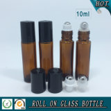 bernsteinfarbige Glasrolle 10ml auf Flasche mit Edelstahl-Rolle