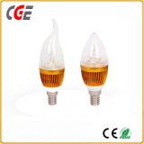 Ampola da vela do diodo emissor de luz da forma E12 6W da flama