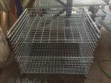 Envase empilado plegable del rectángulo de la cesta de la paleta del almacenaje de la jaula del envase de la paleta del acoplamiento de alambre de acero