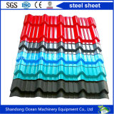Le prix bon marché de la Chine a ridé la feuille en acier de toiture profilée par feuille en acier de toiture faite de tôle d'acier galvanisée enduite d'une première couche de peinture par acier enduite par couleur avec la bonne qualité