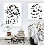 動物の漫画のキャンバスは壁の装飾のための額縁を印刷する