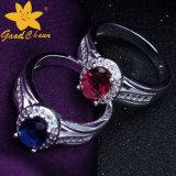 石造りの純銀製の宝石用原石のリングが付いているStsr-16113015カップル