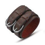 Braceletes de embrulho personalizados largos em couro Jóias de couro