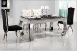 Preços baixos de mármore de projetos ajustados de tabela de jantar do aço A8051 inoxidável