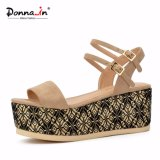 (Donna-в) сандалии платформы женщин высокой пятки пряжки золота способа плоские