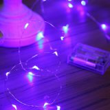 마이크로 LED 20 자주색 빛 건전지는 7FT 긴 은 색깔 매우 얇은 끈 철사에 작동했다