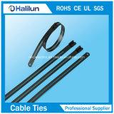 Verschiedene Farben-Polyester-überzogene Metallstrichleiter-einzelner Widerhaken-Verschluss-Kabelbinder