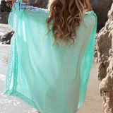Beachwear azul L38469-2 del poncho del ganchillo del kimono