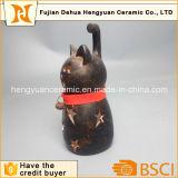 Supporto di candela Vuoto-fuori di Arfts di disegno di ceramica del gatto