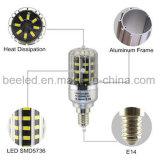 A luz E14 5W do milho do diodo emissor de luz refrigera a lâmpada de prata branca do bulbo do diodo emissor de luz do corpo da cor