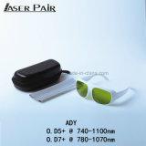 La sicurezza di laser Eyewear per il Ce di 740-1100nm il O. la D 5+ 780-1070nm il O. la D 7+ ha certificato con il blocco per grafici bianco per Alexandrite, 755nm&1064nm, 808&980nm i diodi, ND: YAG