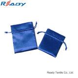 Изготовленный на заказ голубой мешок Drawstring сатинировки Об-Стороны для подарка ювелирных изделий