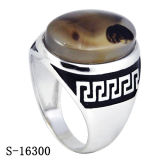 925의 은 보석 새 모델 아랍인은 자연적인 돌을%s 가진 남자 반지를 유행에 따라 디자인 한다