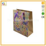 Bolsa de papel del regalo de la promoción en el papel de Kraft reciclado con la impresión en color