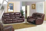 Le sofa moderne de fonction de Recliner de cuir de type a placé (UL-NS156)