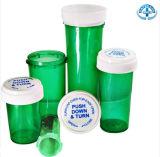 Frasco vazio da prescrição com os tampões instantâneos resistentes da criança