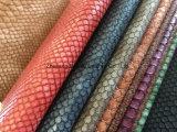 Cuero de la PU de la serpiente para el sofá/los muebles/señora Bag con resistencia de fuego