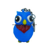 Olho colorido estalando a coruja Keychain Shaped animal do PVC