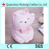 La Banca di moneta fortunata su ordinazione della resina di colore rosa del gatto per la decorazione domestica