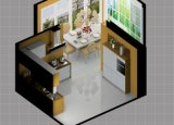 真新しい木製の穀物およびラッカーKictureの白い食器棚