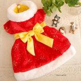 Alineada coralina del perro del terciopelo de Bowtie de la ropa del animal doméstico del Año Nuevo