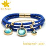 Braceletes azuis do couro da cor para mulheres
