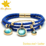 Magnetische lederne Form-Armbänder der blauen Farben-Stbl-009